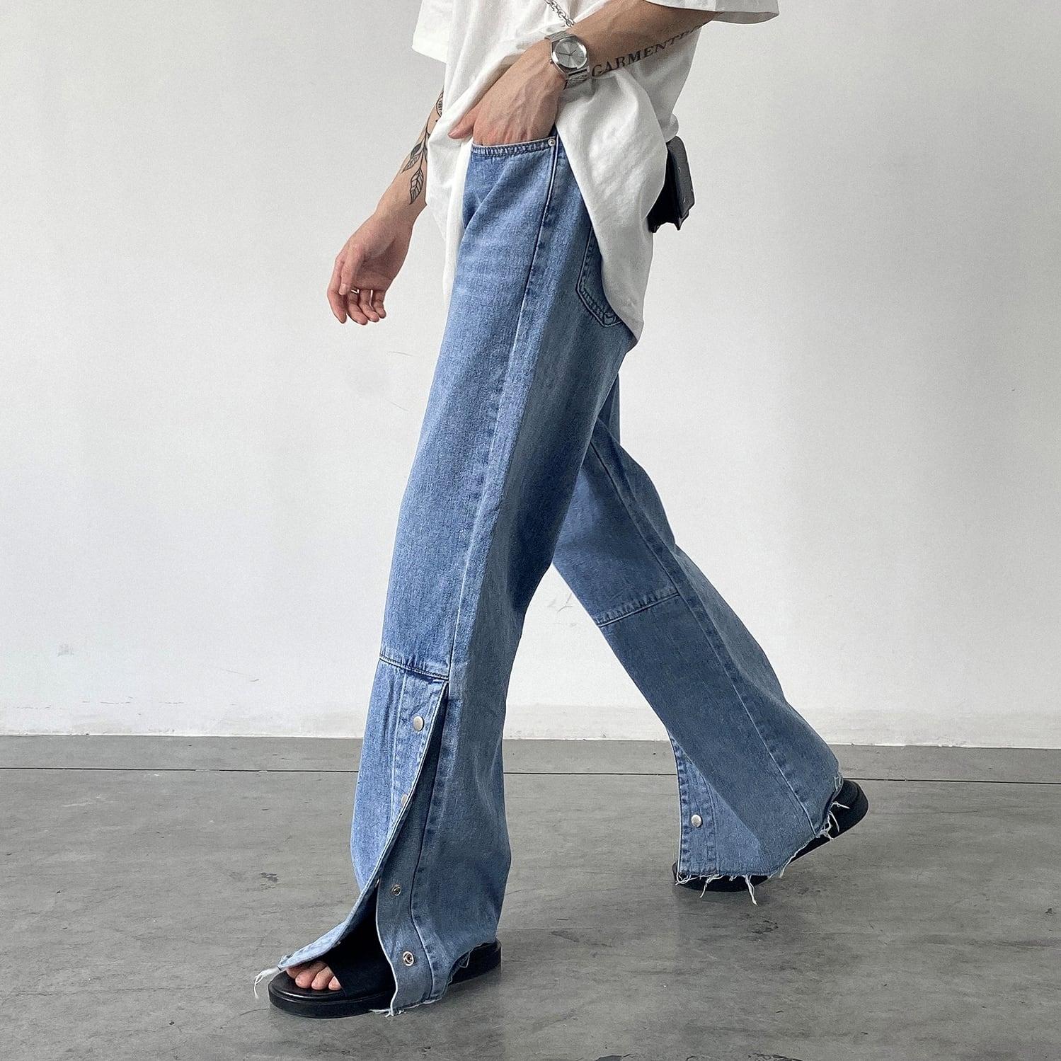 Side button slit jeans   b-324