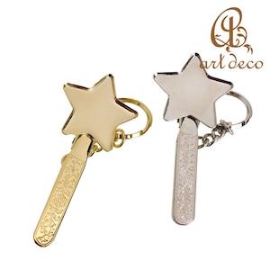 アクセサリー パーツ キーホルダー 星型 スター 1個 32mm×32mm [key-15184] ハンドメイド オリジナル 材料 金具 装飾 カラワク 空枠