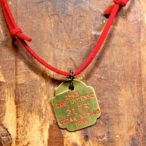 1960s Dog License Plate Pendant / #1 アメリカン アンティークス /ドッグ ライセンス ブラス タグ
