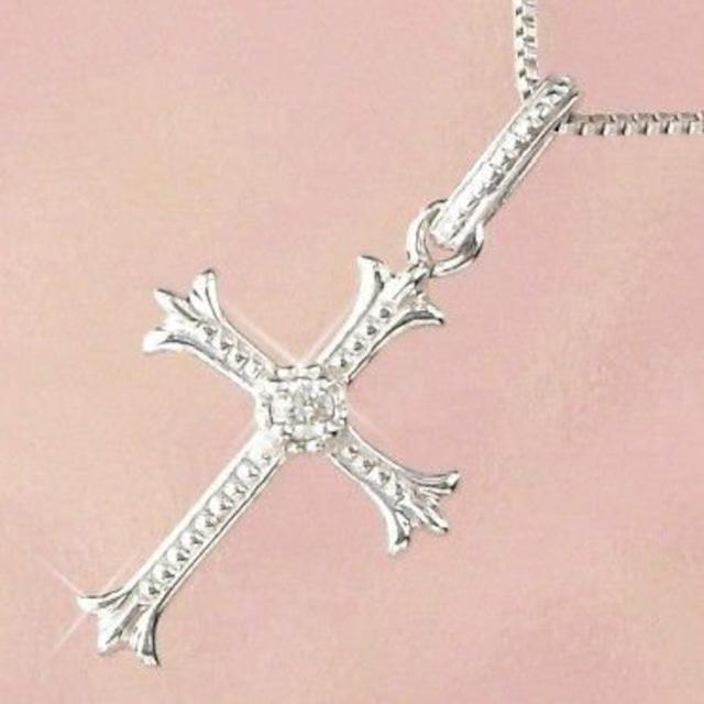 ダイヤモンド ネックレス クロス ホワイトゴールド