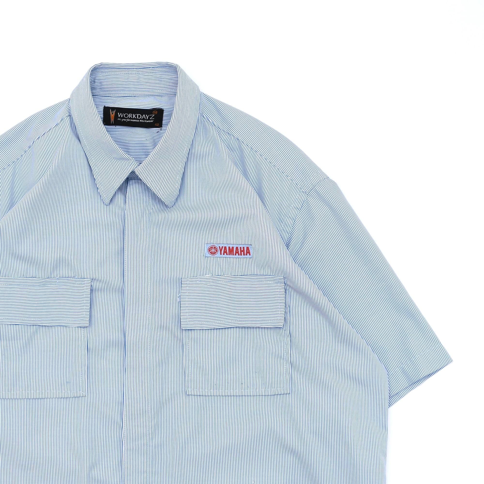 Hairline stripe big size work shirt