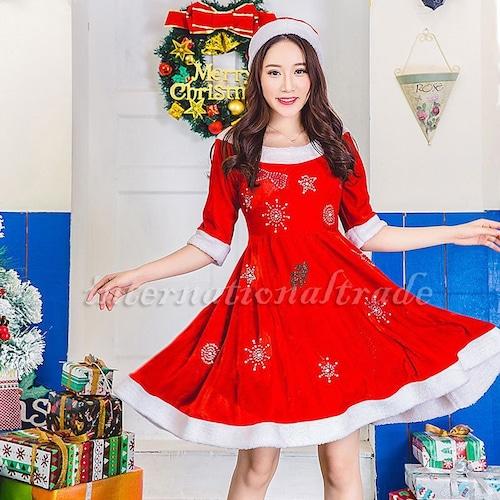 予約 コスプレ服 サンタクロース クリスマスパーティー Xmaワンピース 雪の結晶 柄ワンピース ハイウエスト キラキラ 大人 コスプレ衣装 コスチューム ハロウィン 秋 冬 レディース 女性用 かわいい ふわふわ サンタコス サンタコスチューム クリスマス衣装 ch1012