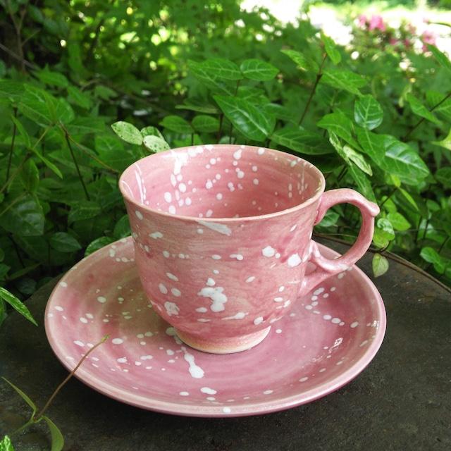 秀島窯作 光彩釉 銀河 コーヒー碗皿 (ピンク)