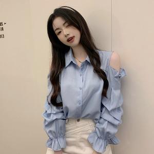 【トップス】スウィート長袖シングルブレストPOLOネック透かし彫りシャツ52898457