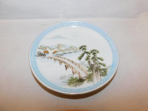 色絵橋五寸皿 (1枚)collard porcelain one plate(bridge)