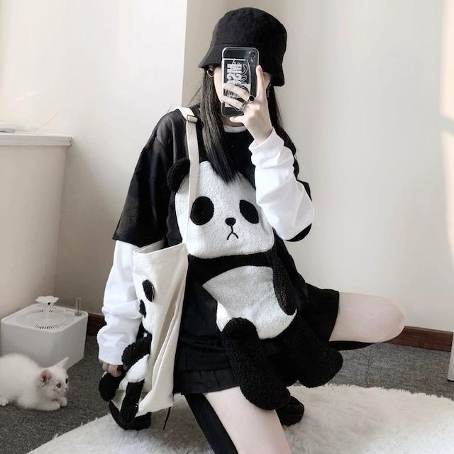 【トップス】パンダ模様キュートかわいい系フードなしパーカー25968564