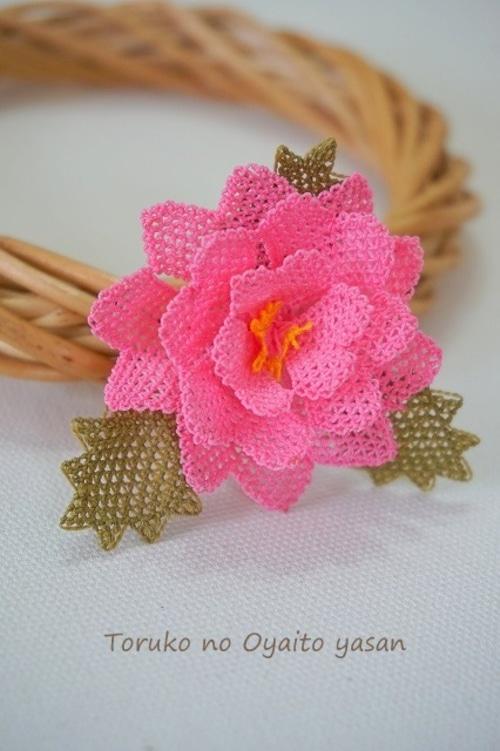 イーネオヤ バラのブローチ ピンク系:NaB1-B2