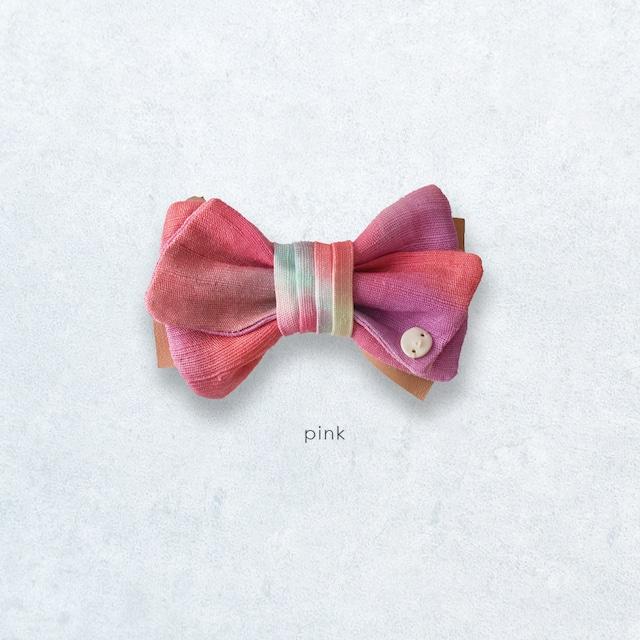 ナチュラル感が新鮮 麻の蝶ネクタイ 〈 BowTie 〉Pink