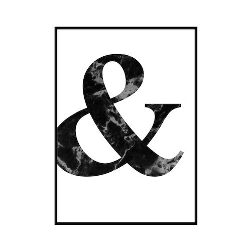 """""""&"""" 黒大理石 - Black marble - ALPHAシリーズ [SD-000501] A2サイズ ポスター単品"""