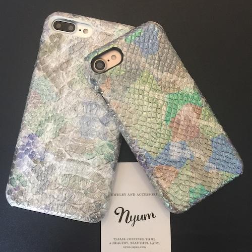 【iphone7plus/8plus/X/XSカバー】オーロラメタルパイソン柄iphoneケース へび柄 ヘビ柄