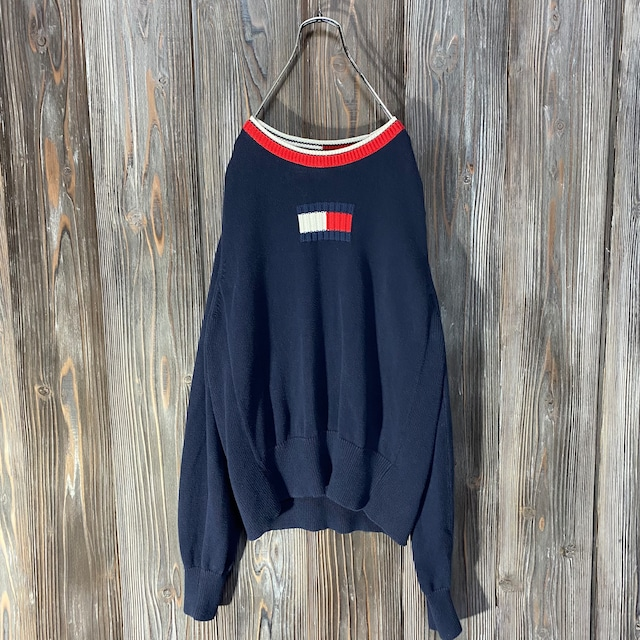 [TOMMY]big logo design knit