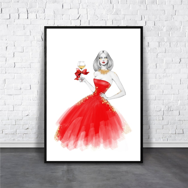 Girl in red dress / 【アートポスター専門店 Aroma of Paris】[AP-000298]