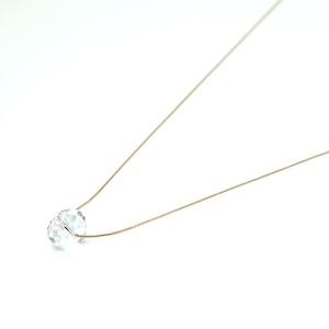 facet quartz simple necklace - K18YG
