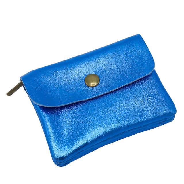 イタリア製 本革 小銭入れ 貴重品入れ ベーキー ブルー