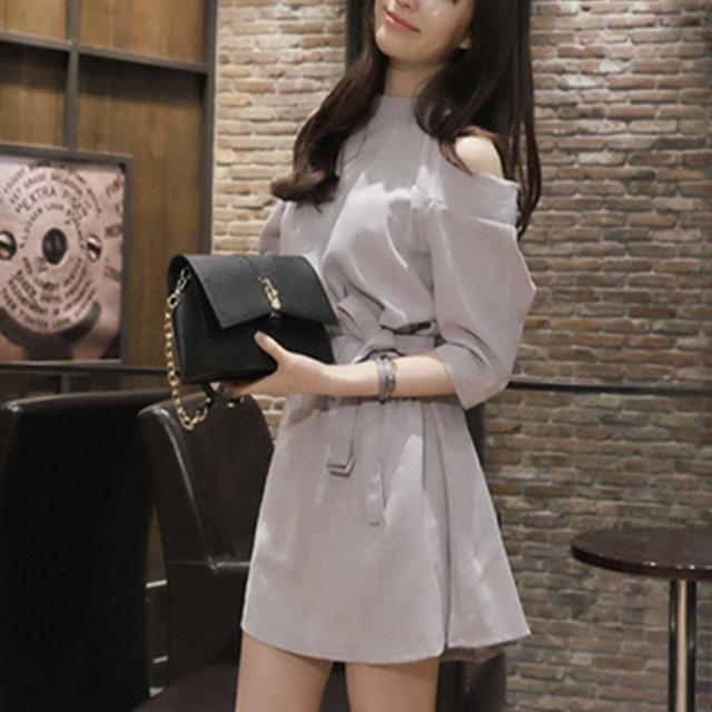 【ワンピース】超人気春カジュアル無地膝上ファッションシンプルワンピース19422765