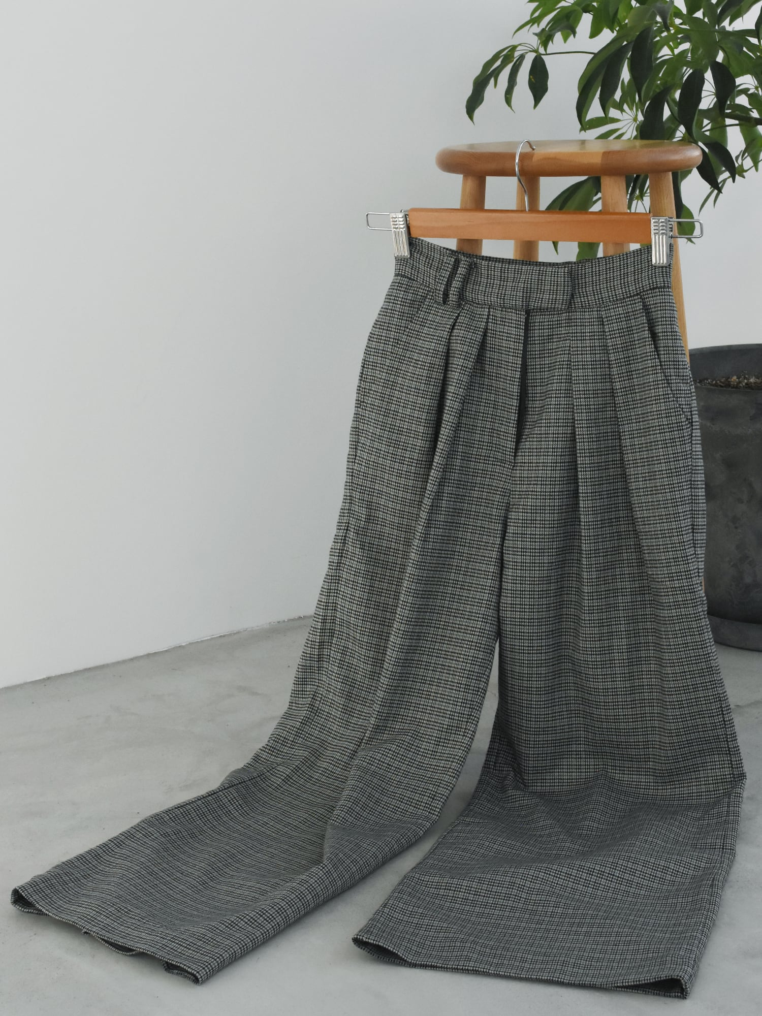 2tuck wide slacks(gray check)