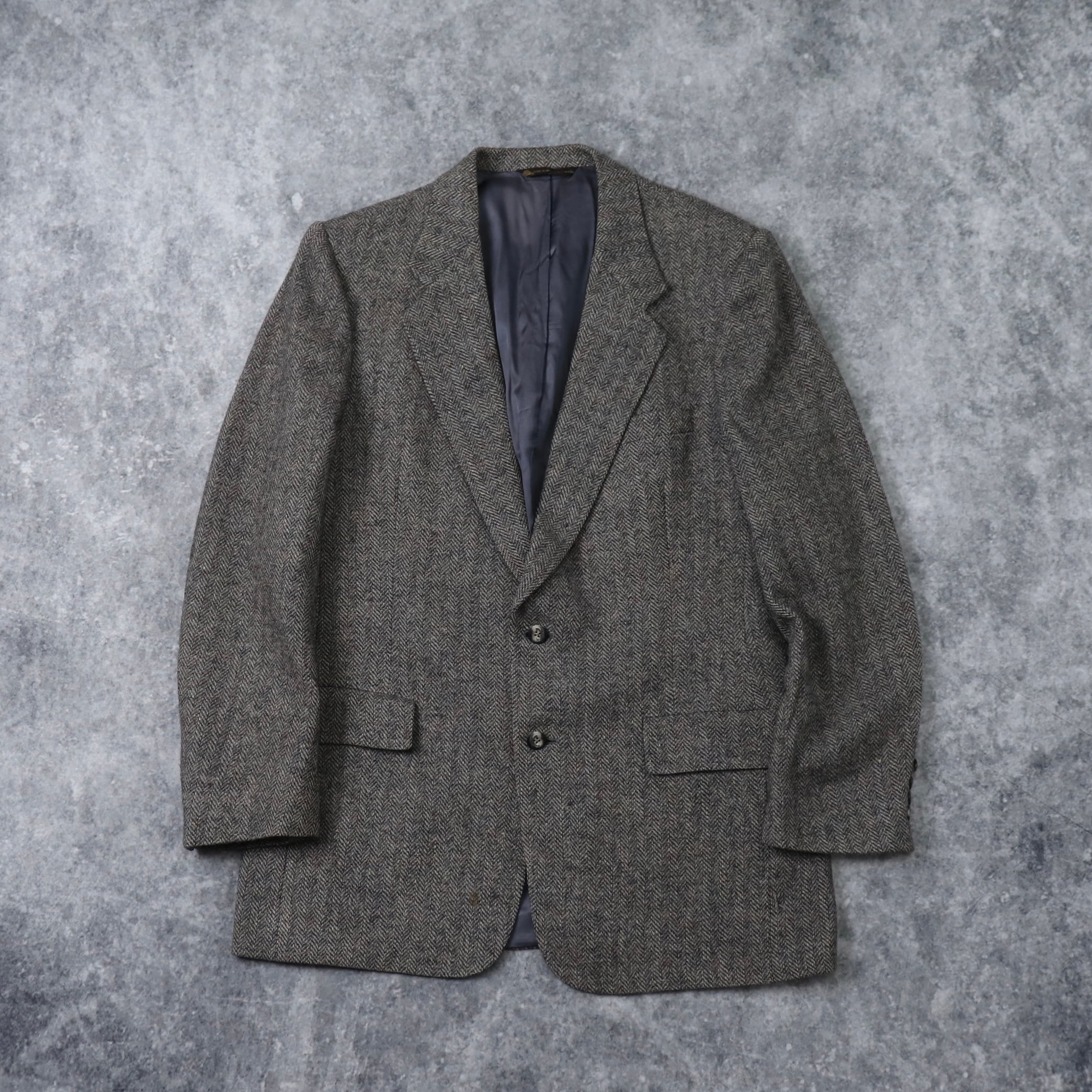"70s  "" Christian Dior ""  Tailored Jacket   70年代 クリスチャンディオール テーラードジャケット ツイード グレー 古着 A624"