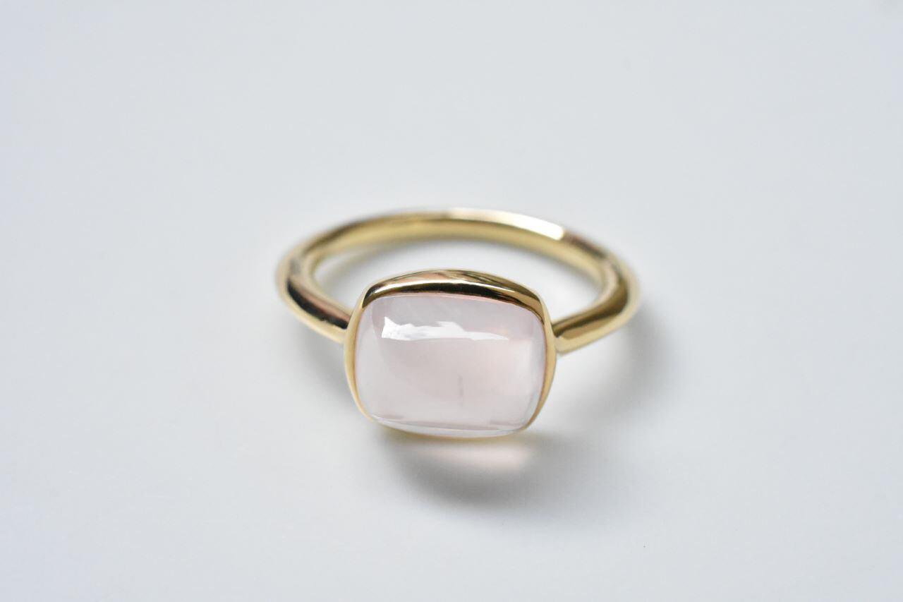 Rose Quartz Ring 3.93ct / K18YG