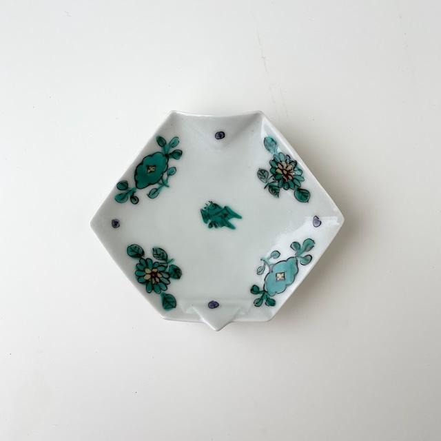 【おてしょ皿】錦七宝小花(緑)折紙型手塩皿