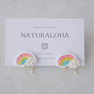 【虹のパーティ】手刺繍のWレインボーイヤリング(耳ピタ・タイプ)