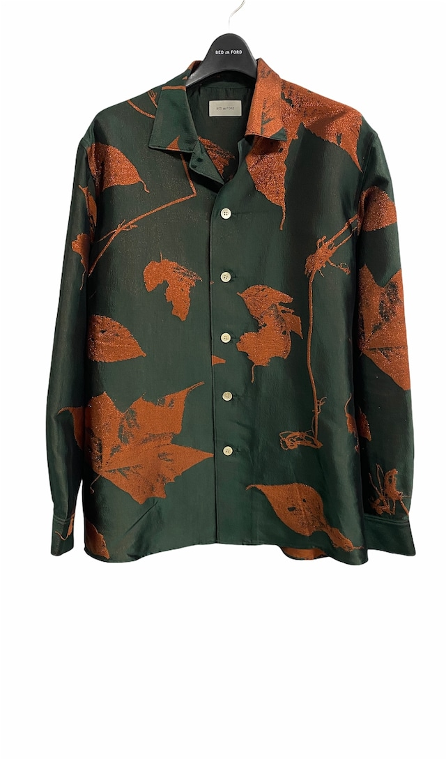 BED J.W. FORD /  Open collar shirts Jacquard pattern(FOREST)