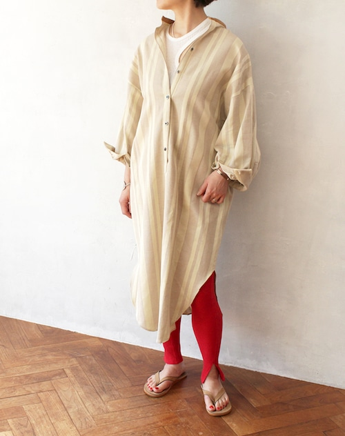 L'Ancre (アンカー)プリペラストライプシャツドレス