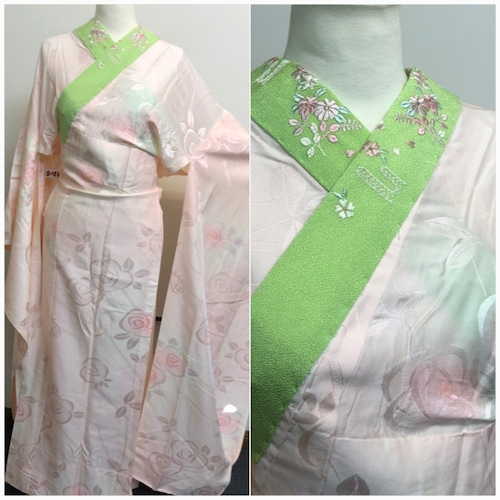 ★振袖の 長襦袢 刺繍衿 単衣 正絹 黄緑 ★ 3205j