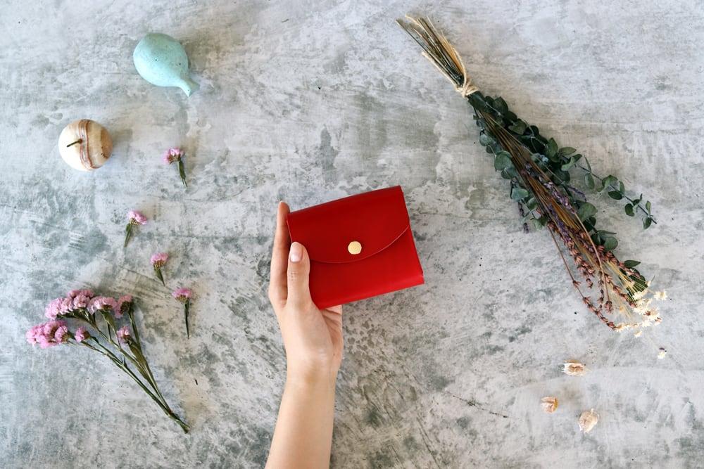 イングラサット_レッド◆外装◆こども財布◆三つ折り