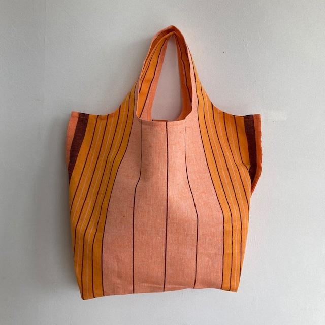 リネン エコ バッグ 手作り ストライプ オレンジ ハンドメイド マルシェバッグ 洗える 軽い ワンショルダー