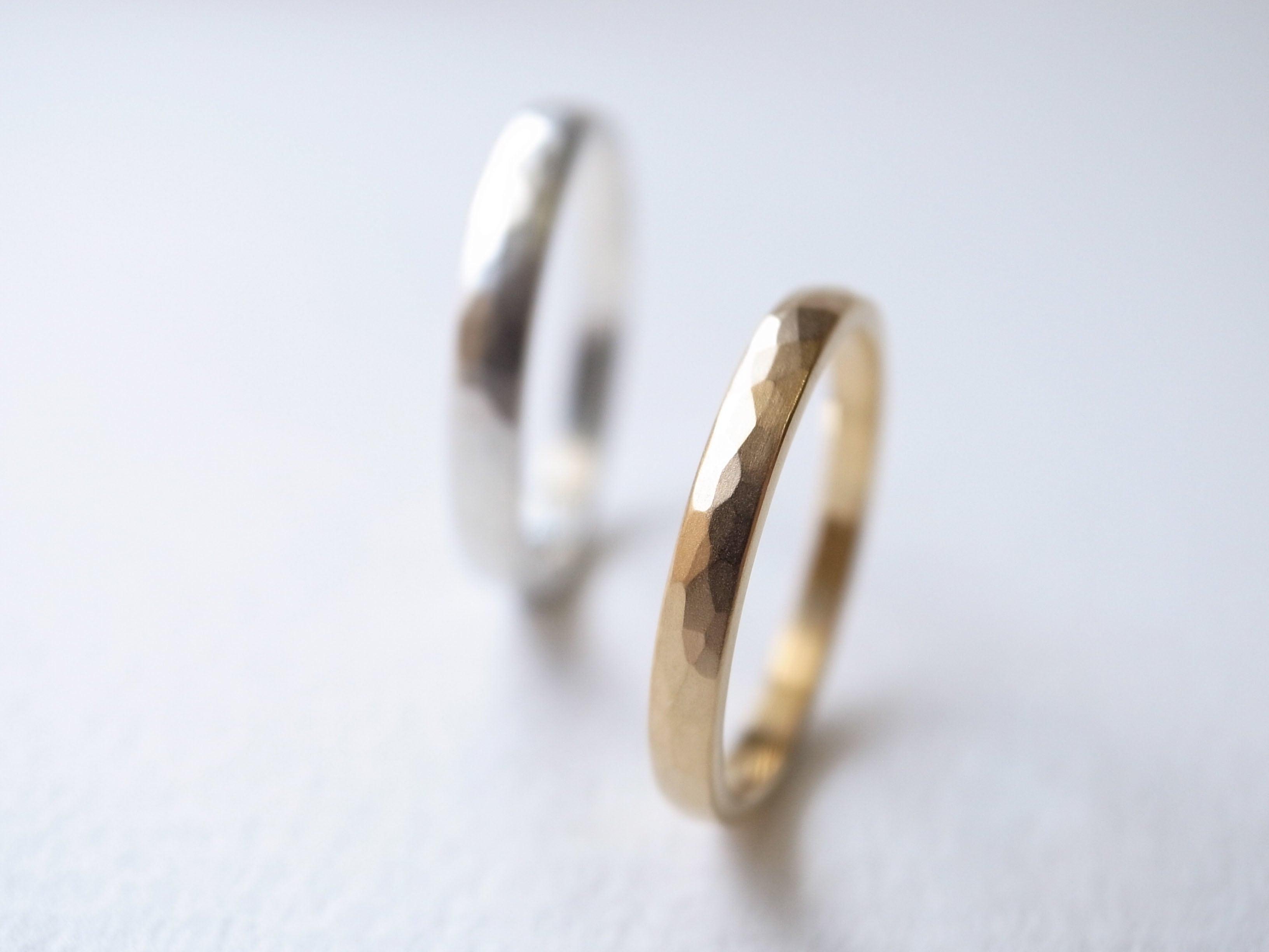 【pairing・stamp】K18YG・silver950/tsuchime maru ring