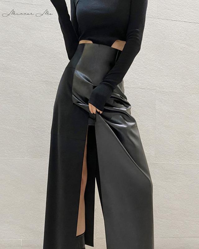 <サイズ展開豊富!>異素材切り替えレザーハイウエストスリットスカート