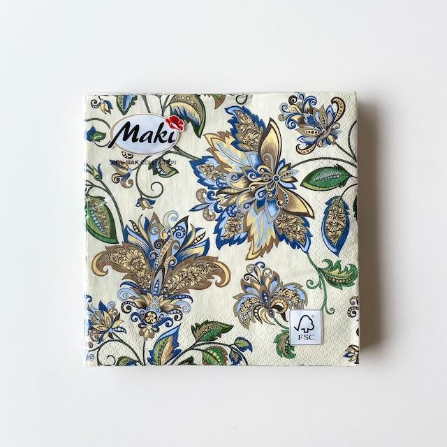 【Maki】ランチサイズ ペーパーナプキン Golden Blue Hindi Pattern クリーム 20枚入り