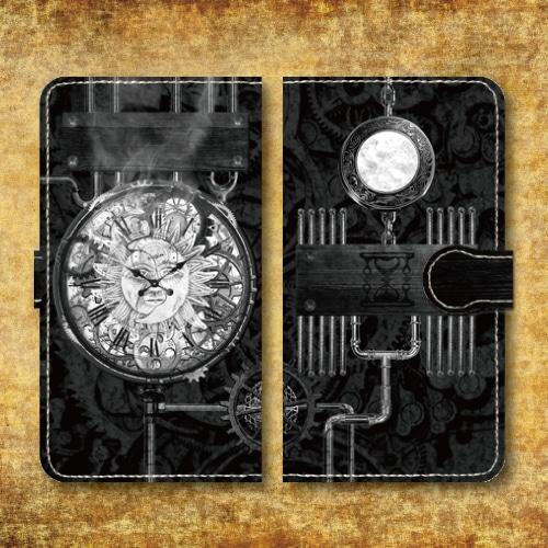 スチームパンク調/タイムマシン/機械/時計/歯車/レトロ/ホワイト/Androidスマホケース(手帳型ケース)