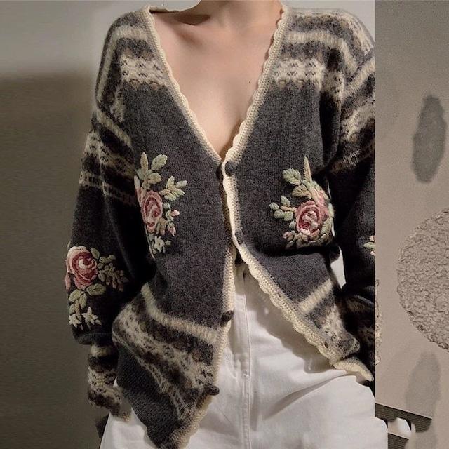 ローズ刺繍Vネックカーディガン 【210484】 大きいサイズあり