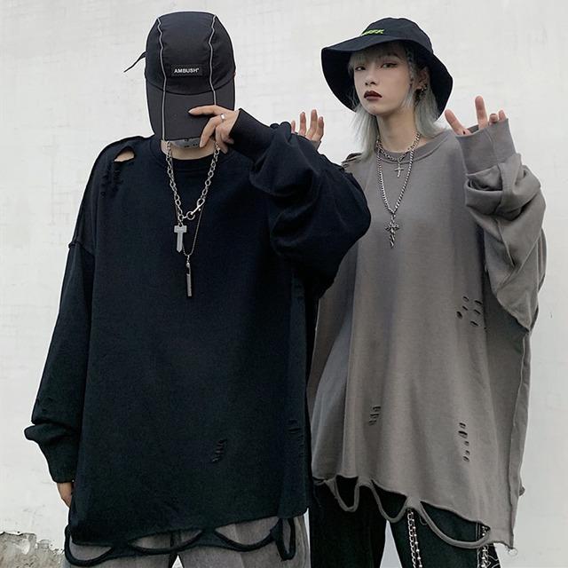 【トップス】ストリート系プルオーバーダメージ加工無地Tシャツ42897819