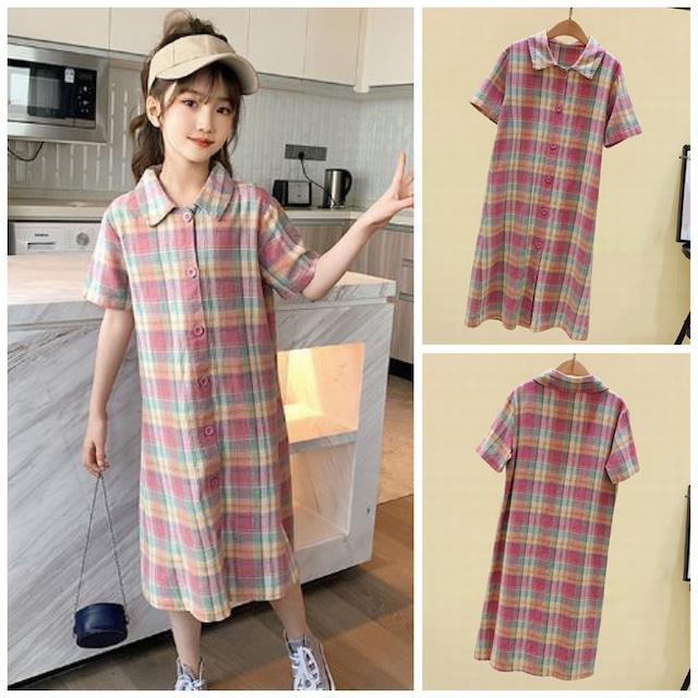 120~160cm ★ ロング丈 チェックシャツ ワンピース ピンク