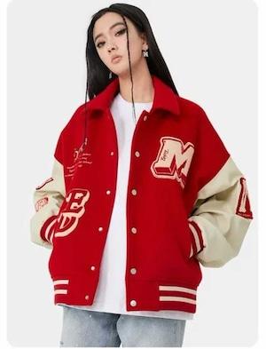 【MEDM】ボーン刺繍&ワッペンスタジャン RED