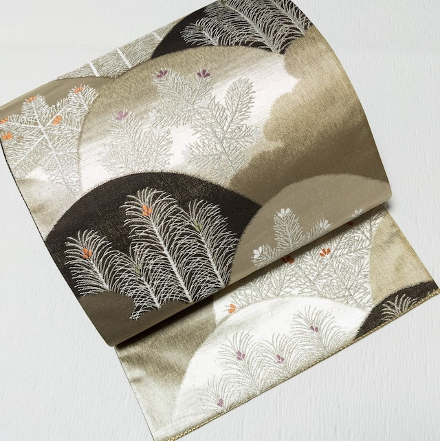 【締め跡なし】袋帯 六通 みやまに若松 金糸 銀糸 箔 ゴールド×焦げ茶