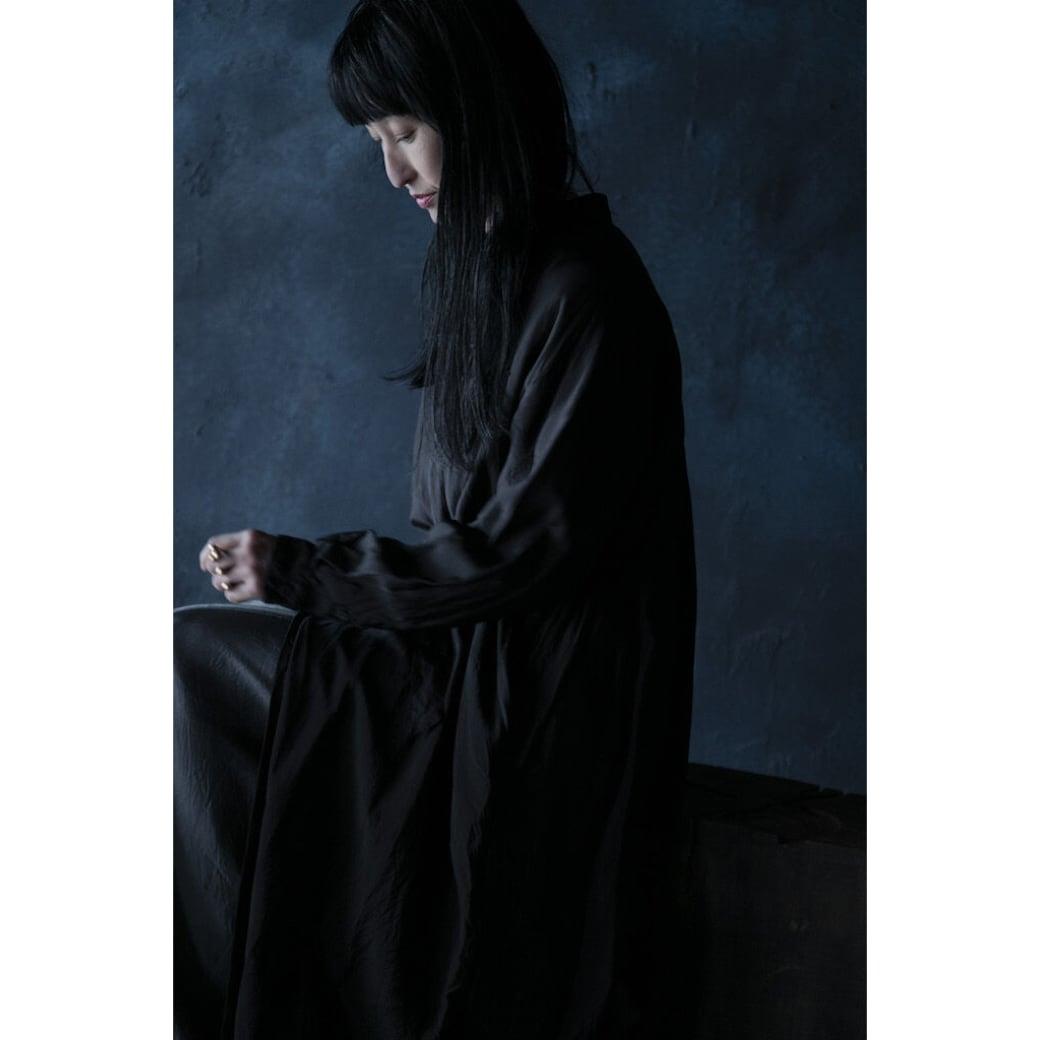 【hippiness × Sakurako.】cupro workdress(black)/ 【ヒッピネス × サクラコ.】キュプラ ワークドレス( ブラック)