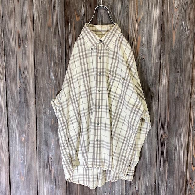 [Burberry London]cream color nova check shirt
