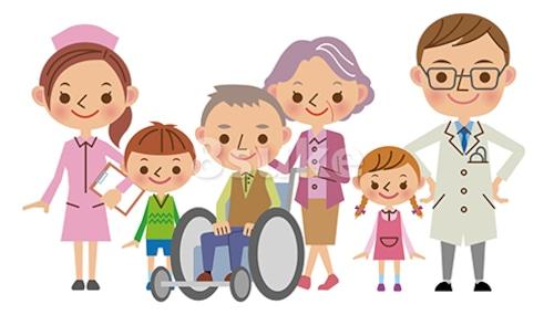イラスト素材:医療スタッフと患者家族イメージ/医者・看護師・患者家族ベクター・JPG)