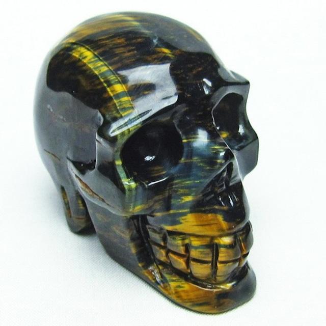 イエロータイガーアイ 手彫り-卓上置物 ドクロ スカル 154-7
