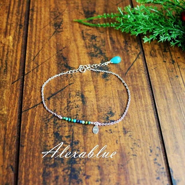 2WAY天然石クリソコラブレスレット silver925ブレスレット 天然石ブレスレット 天然石アンクレット 華奢アクセサリー 大人可愛いアクセサリー