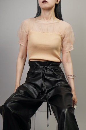 SEE-THROUGH SWITCHING KNIT TOPS  (BEIGE) 2106-32-27