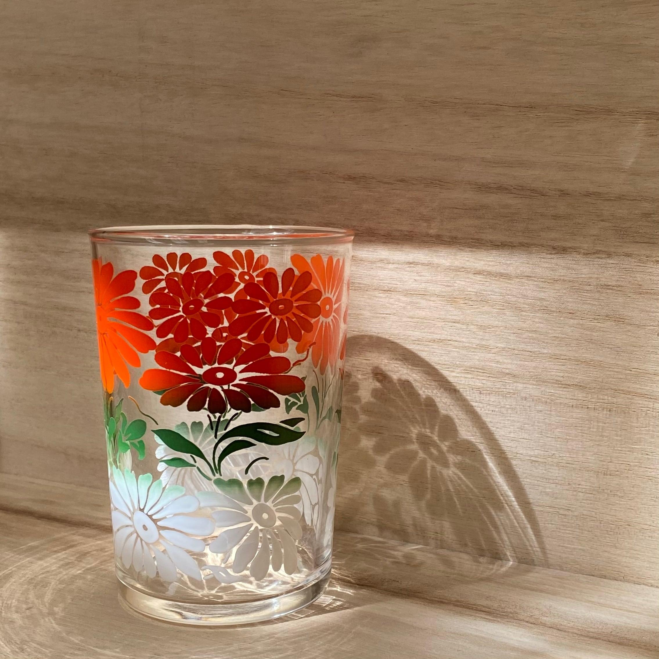 70年代 USA製 タンブラーグラス ヴィンテージグラス レトログラス フラワー柄グラス フラワー柄食器 オレンジ