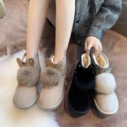 ウサギの耳付き ムートンブーツ 22.5〜25.0cm 韓国ファッション レディース ファーブーツ 防寒 もこもこ 履きやすい カジュアル 631262892415