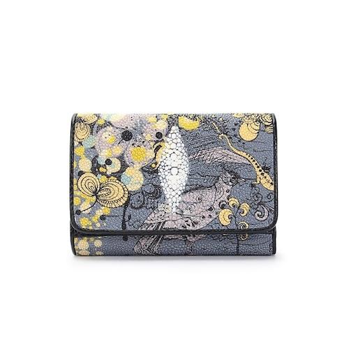 可愛い レディース エイ革財布 コンパクトな三つ折り財布 スティングレイ 金運 風水