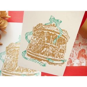 手刷りのクリスマスカード merry !