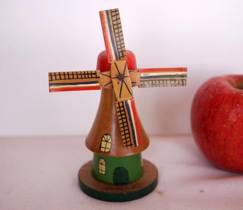 木製モデル オランダ風車 オブジェ ハンドペイント  ドールハウス ミニチュア おもちゃ