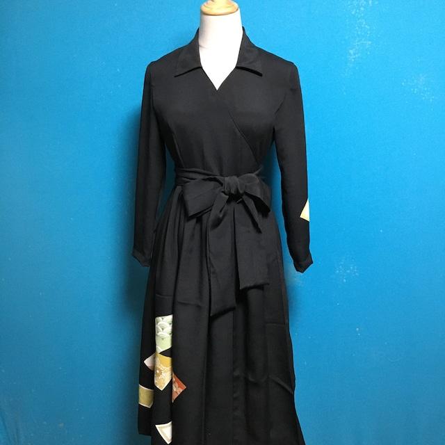 Vintage black kimono wrap dress/ US 6